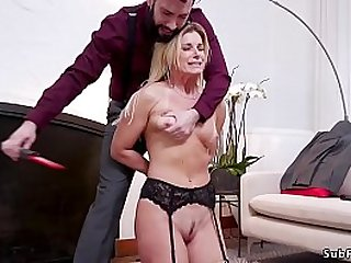 Rough bf Tommy Pistol zappers hot blonde stepmom India Summer of his girlfriend Cadence Lux then in rope bondage fucks them both with big cock